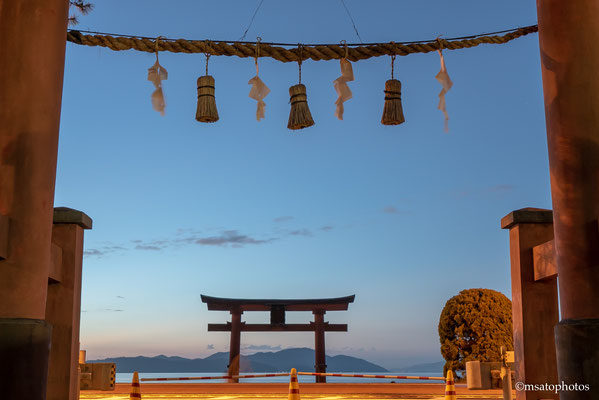 #Japan, #Shiga prefecture, #Takashima city, #Biwa lake, #Shirahige sanctuary, #Torii, #sunrise