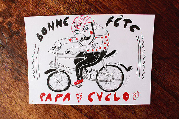 Papa (cyclo)touriste (rectangle blanc 15,5x11 cm) 3,50 €