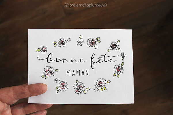 carte calligraphiée (15,5 x 11) 2,5 €