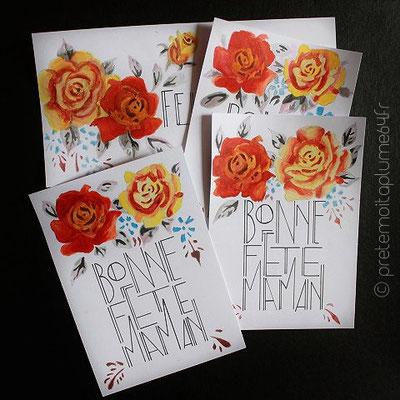 """carte peinte main style """"art déco"""" (15,5 x 11) 5 €"""