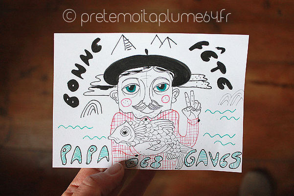 Papa des Gaves (rectangle blanc 15,5x11 cm) 3,50 €
