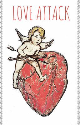Cupidon + myocarde (carte rectangulaire 165x115 papier 300 g/cm²)