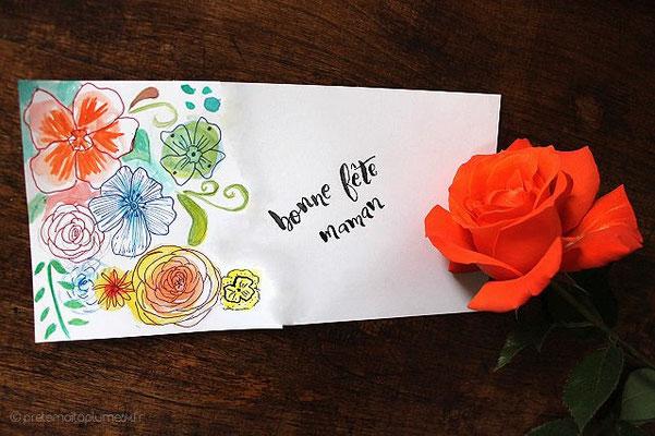 carte peinte main (21 x 10,5) 4 € (calligraphiée proposée écriture pinceau)