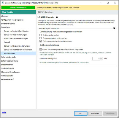Kaspersky Richtlinie AMSI-Provider