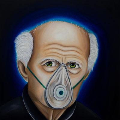 Eine infizierte Gesellschaft #2, Öl auf Leinwand, 70 x 70 cm, 2020.