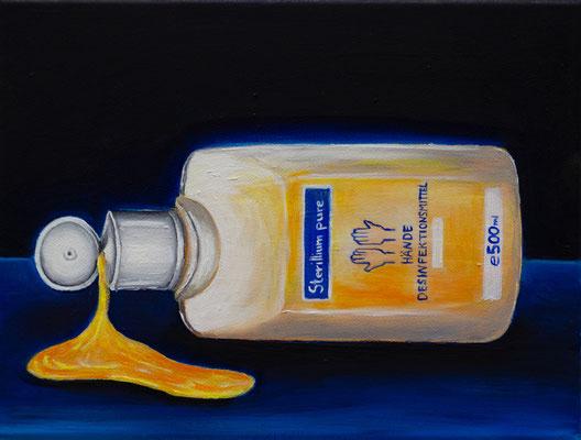 Eine infizierte Gesellschaft #4, Acryl u. Öl auf Leinwand, 24 x 18 cm, 2020.