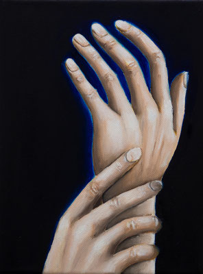 Eine infizierte Gesellschaft #5, Acryl u. Öl auf Leinwand, 24 x 18 cm, 2020.