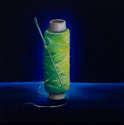 Eine infizierte Gesellschaft #6, Acryl u. Öl auf Leinwand, 20 x 20 cm, 2020.