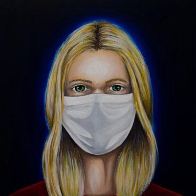 Eine infizierte Gesellschaft #1, Acryl u. Öl auf Leinwand, 50 x 50 cm, 2020.