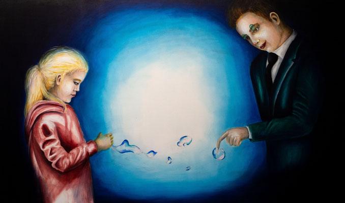 Geplatzte Träume #2, Acryl auf Leinwand, 90 x 150 cm, 2019.