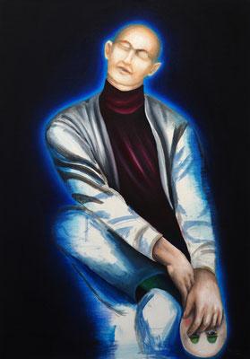 Demaskiert #2, Acryl und Öl auf Leinwand, 120 x 70 cm, 2021.