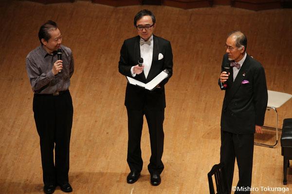 左から音楽評論家:奥田佳道さん、司会:斎藤茂(OTTAVA)さん、NPO代表:四分一勝