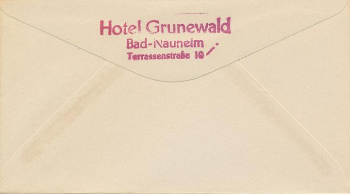 Eingang 11.11.2015 / Schenkungk der EPI Gelsenkirchen: Briefumschlag aus Elvis Briefpapiermappe im Hotel Grunewald - Rückseite