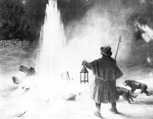 """""""Das Weihnachtswunder"""" - Ausbruch des großen Sprudels am 22. Dezember 1846, Gemälde von Heniz Geilfus - SW-Foto: Beatrix van Ooyen, digital im ONLINE-MUSEUM BAD NAUHEIM"""