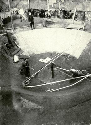 Kurbrunnen-Bau, Foto von Familie Werle, Online-Museum Bad Nauheim