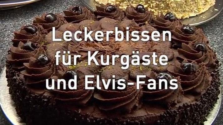 """Elvis-Torte von Bäckerei/Konditorei Stark: SCREENSHOT vom HR-Film """"Leckerbissen für Kurgäste und Elvis-Fans"""", von Nina Thomas und Bernd Kliebhan, 14.11.2015"""