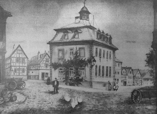 Das Alte Rathaus, Marktplatz in Bad Nauheim, Gemälde von Heinz Geilfus - SW-Foto: Beatrix van Ooyen, digital im ONLINE-MUSEUM BAD NAUHEIM