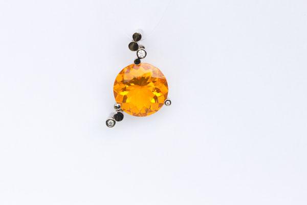 pendentif or blanc opale de feu Mexique et diamants
