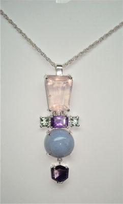 pendentif argent, quartz rose, améthyste, tourmalines, et calcédoine