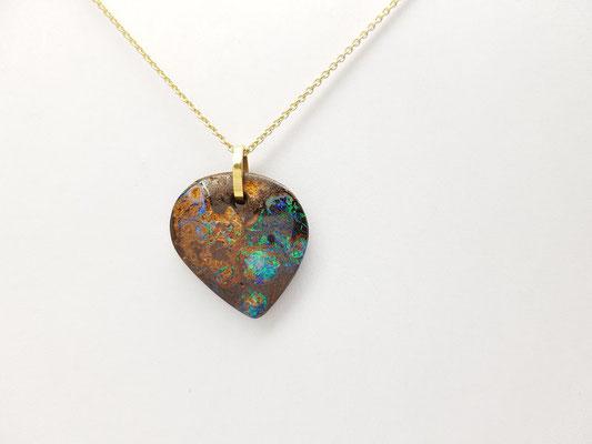 pendentif opale boulder Australie, bélière or jaune