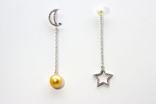 boucles d'oreilles or blanc perle blanche et perle gold ( mer des Philipinnes) et diamants