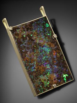 pendentif or jaune opale boulder d'Australie et 3 diamants