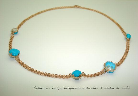 collier or rouge turquoises facétées et cristal de roche facétés