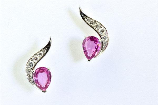 boucles d'oreilles or blanc saphirs roses poires et diamants