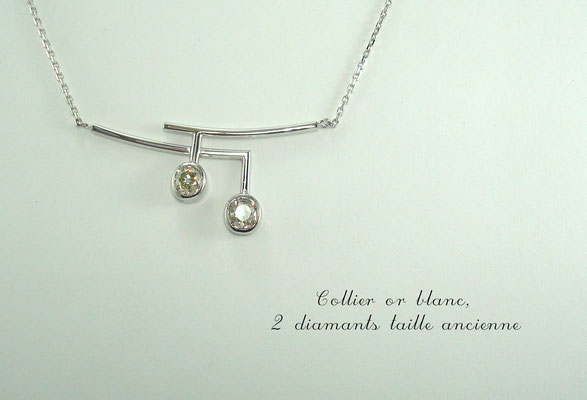 collier or blanc diamants taille ancienne