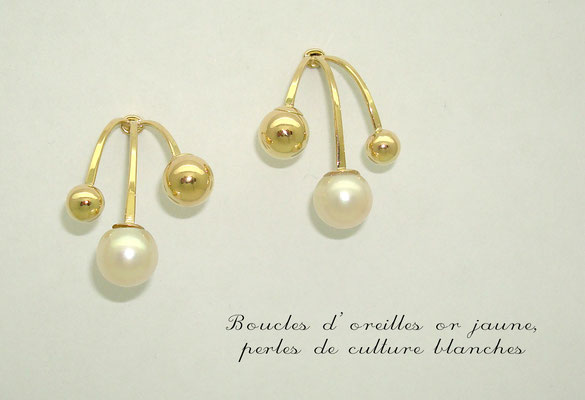 boucles d'oreilles or jaune et perles blanches