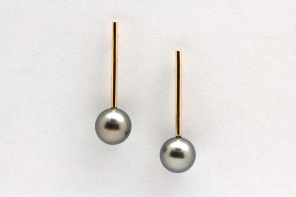 boucles d'oreilles or jaune et perles de tahiti