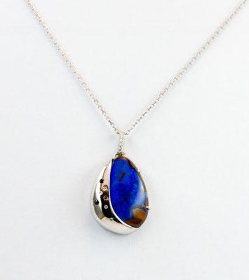 pendentif or blanc opale boulder Australie, diamants et diamants noirs