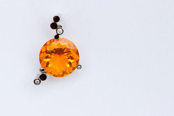 pendentif or blanc opale de feu du Mexique