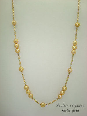 collier or jaune perles gold
