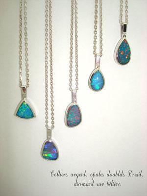 collier argent opale Brésil