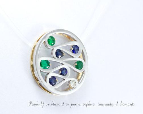 pendentif 2 ors, emeraudes, saphirs et diamants