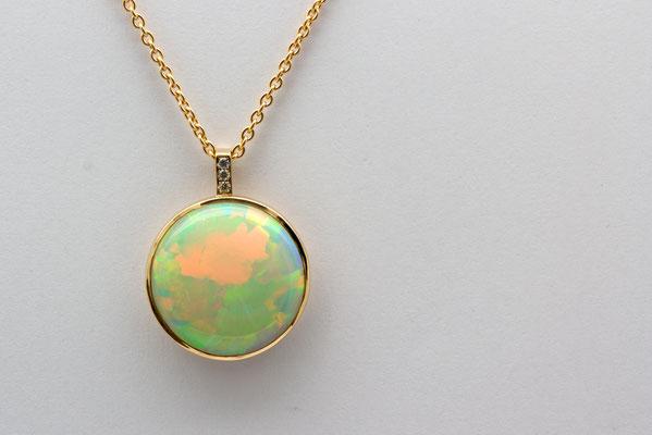 pendentif or jaune opale welo d'Ethiopie