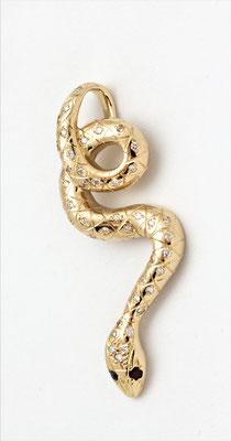 pendentif or jaune serpent diamants