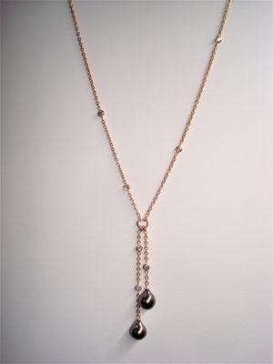 Collier or rouge, diamants et perles de tahiti