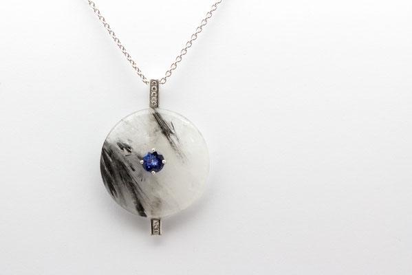 pendentif or blanc diamants, tanzanite et donuts cristal de roche inclusions tourmaline noire