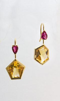 boucles d'oreilles or jaune, citrine et tourmalines roses