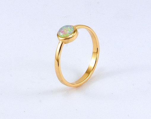 bague or jaune opale Brésil