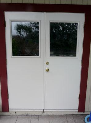 Door with standard deadbolt Installed