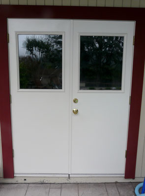 Door with standard deadbolt Installed
