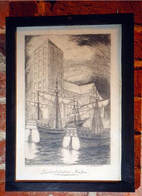 """""""Der Störtebeker-Hafen"""", gezeichnet nach einer Vignette des Norder Heimat-Vereins von L. Agena, 1934; Turmmuseum in Marienhafe"""