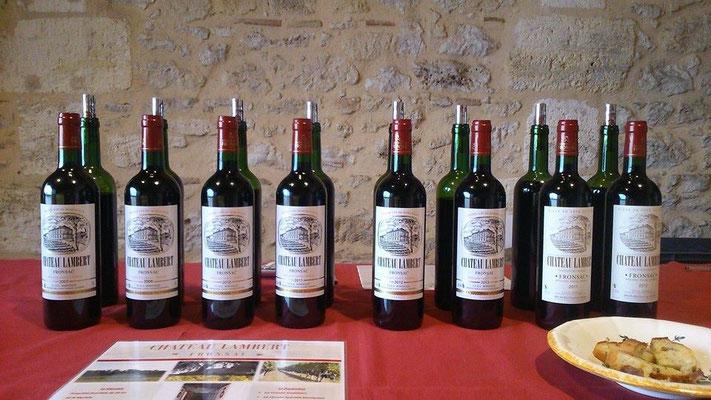 Les vins à la dégustation au CHATEAU LAMBERT vin de Fronsac