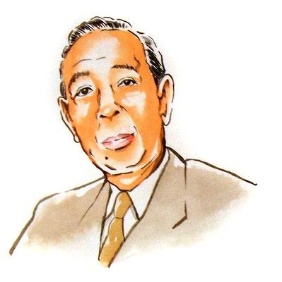 岸信介 政治家 総理大臣 水彩画 似顔絵 挿絵 新聞