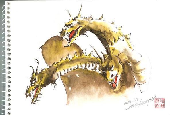 怪獣 水彩画 和紙 酔画 挿絵 手描き