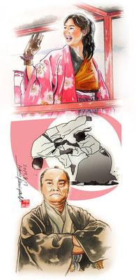幕末、幕末英雄伝、武田鉄矢、挿絵、水彩画、江戸、日本、偉人、歴史、日本史、人物、