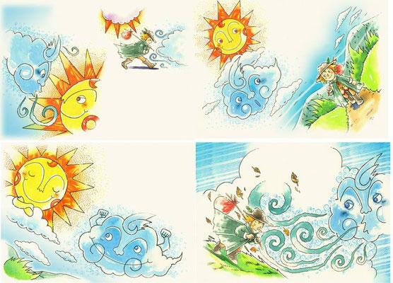 装丁画、表紙、時代劇、童話、絵本、影絵、日本、動物、手描き、伝統、